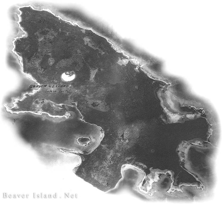 Garden Island 1938 Aerial. Copyright 1999 Beaver Island.Net.  All Rights Reserved.